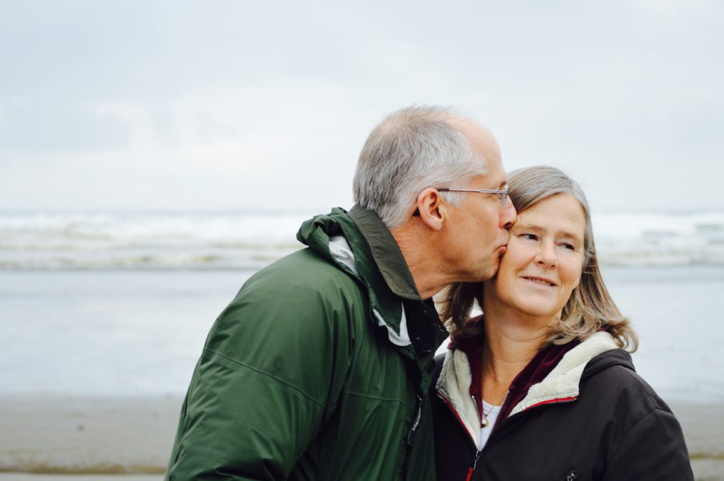 Older Man Kisses His Wife